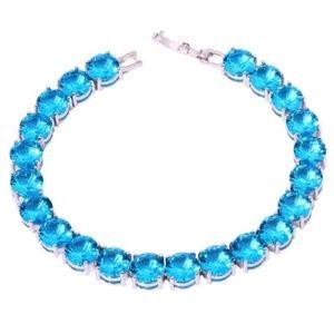 119 Ct.t.w Blue Apatite 925 Silver Tennis Bracelet